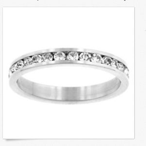 Silver Eternity Ring Cubic Zirconia Size 9 10